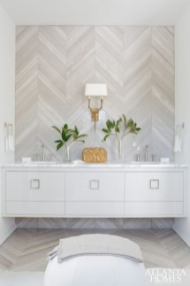 Adorable marble herringbone backsplash detail 11