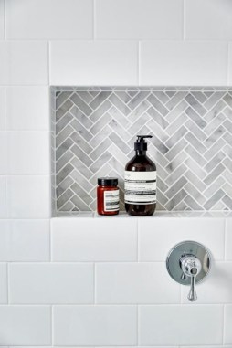 Adorable marble herringbone backsplash detail 14