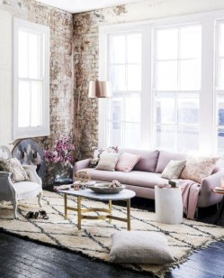 Boho rustic glam living room design ideas 10