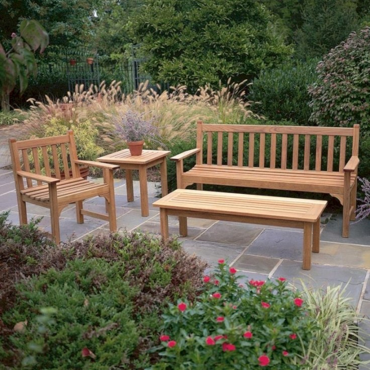 Teak garden benches ideas for your outdoor 15