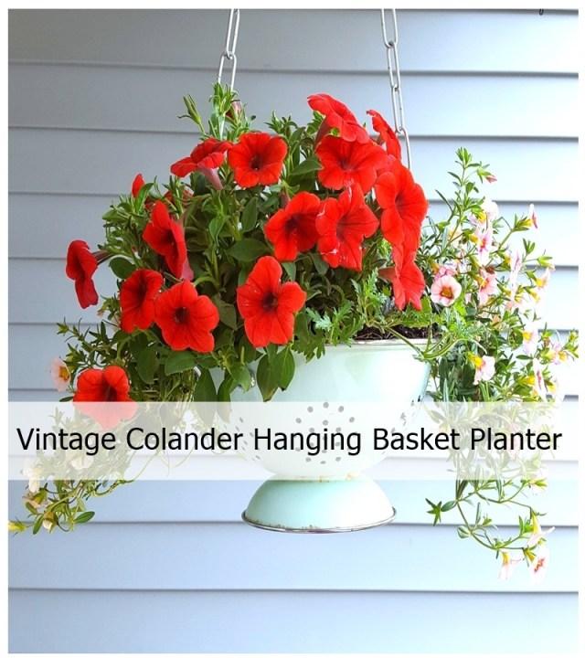 Vintage Colander Hanging Basket Planter