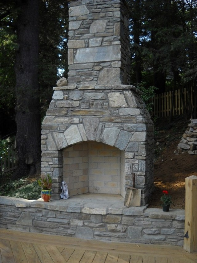 The masonry outdoor fireplace