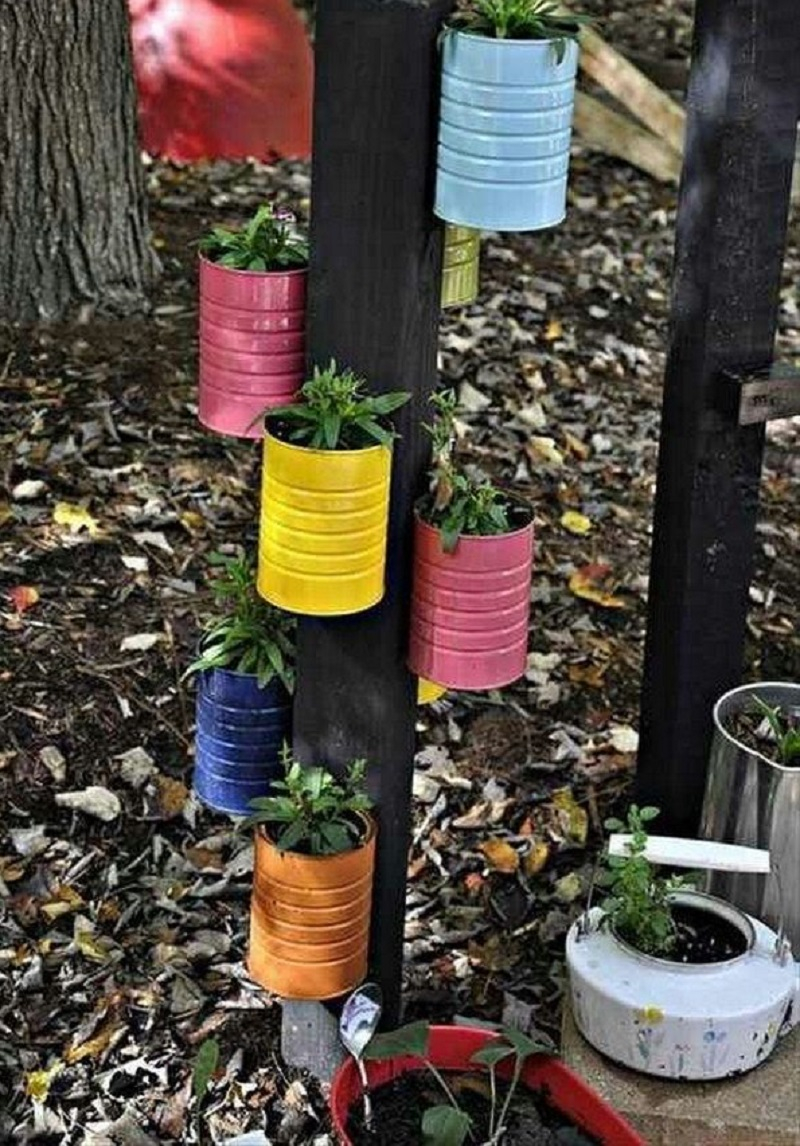 Rainbow canister planters