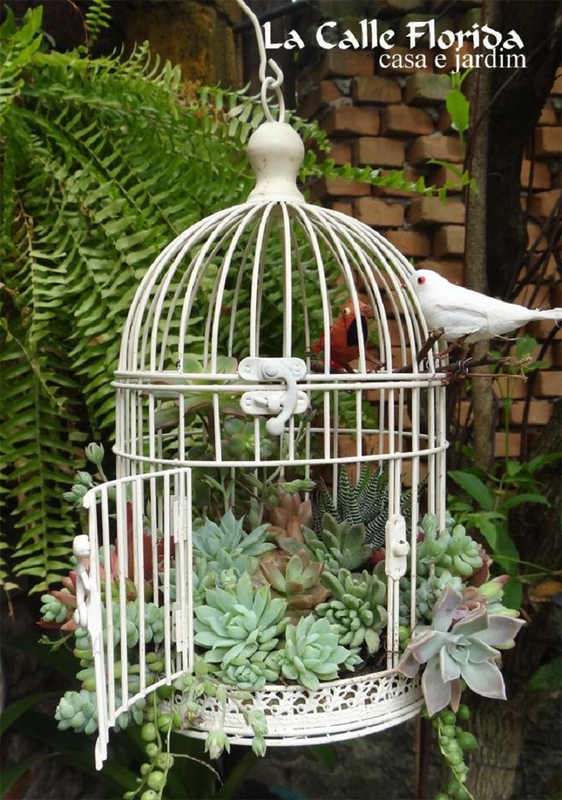 Simple white birdcage
