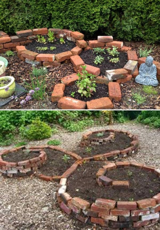 Garden bed from bricks