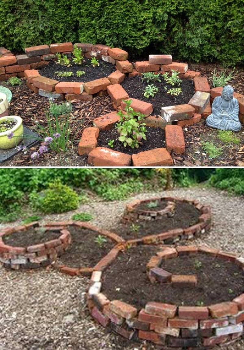 Garden bed from bricks