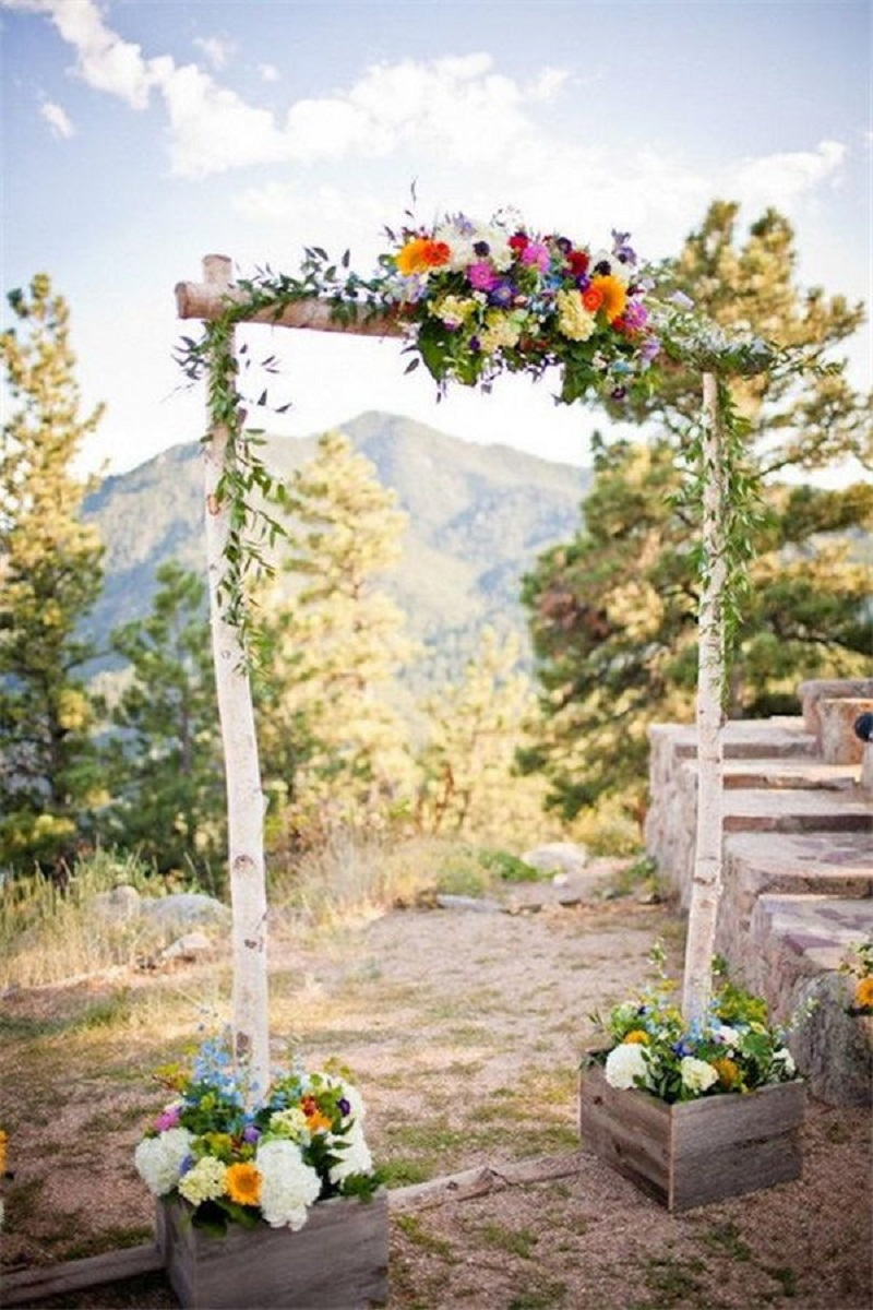 Beautiful birch poles create a gorgeous rustic wedding arch