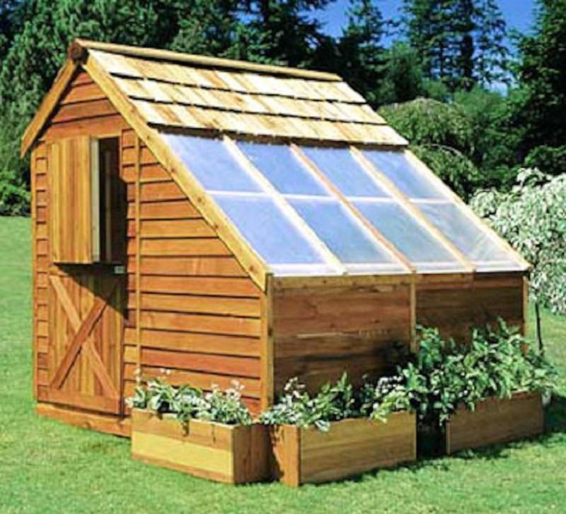 Backyard city cedar greenhouse
