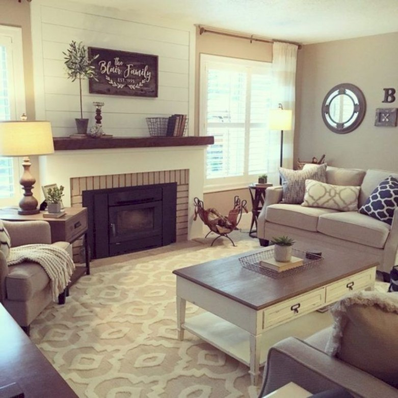 Rustic farmhouse living room decor ideas 10