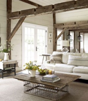 Rustic farmhouse living room decor ideas 36