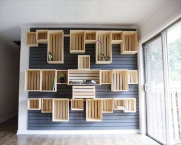 Diy wood crate shelves projects to calm the clutter effectively 02