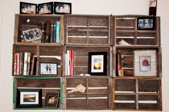 Diy wood crate shelves projects to calm the clutter effectively 30