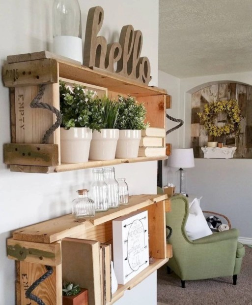 Diy wood crate shelves projects to calm the clutter effectively 37