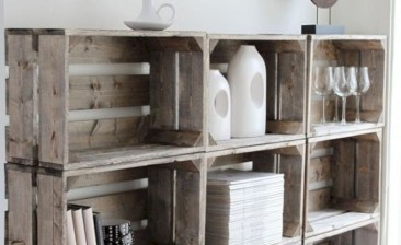 Diy wood crate shelves projects to calm the clutter effectively 50