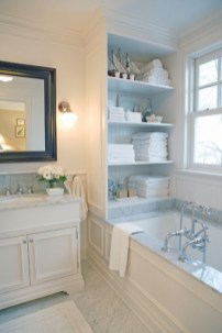 Built-in bathroom shelf and storage ideas to keep your bathroom organized 21