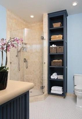 Built-in bathroom shelf and storage ideas to keep your bathroom organized 25