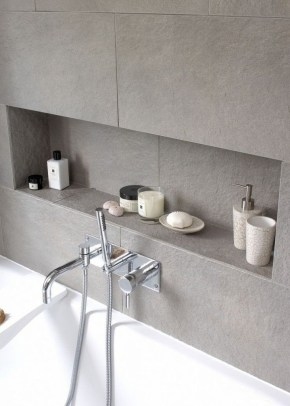Built-in bathroom shelf and storage ideas to keep your bathroom organized 26
