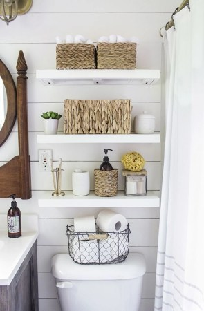 Built-in bathroom shelf and storage ideas to keep your bathroom organized 52