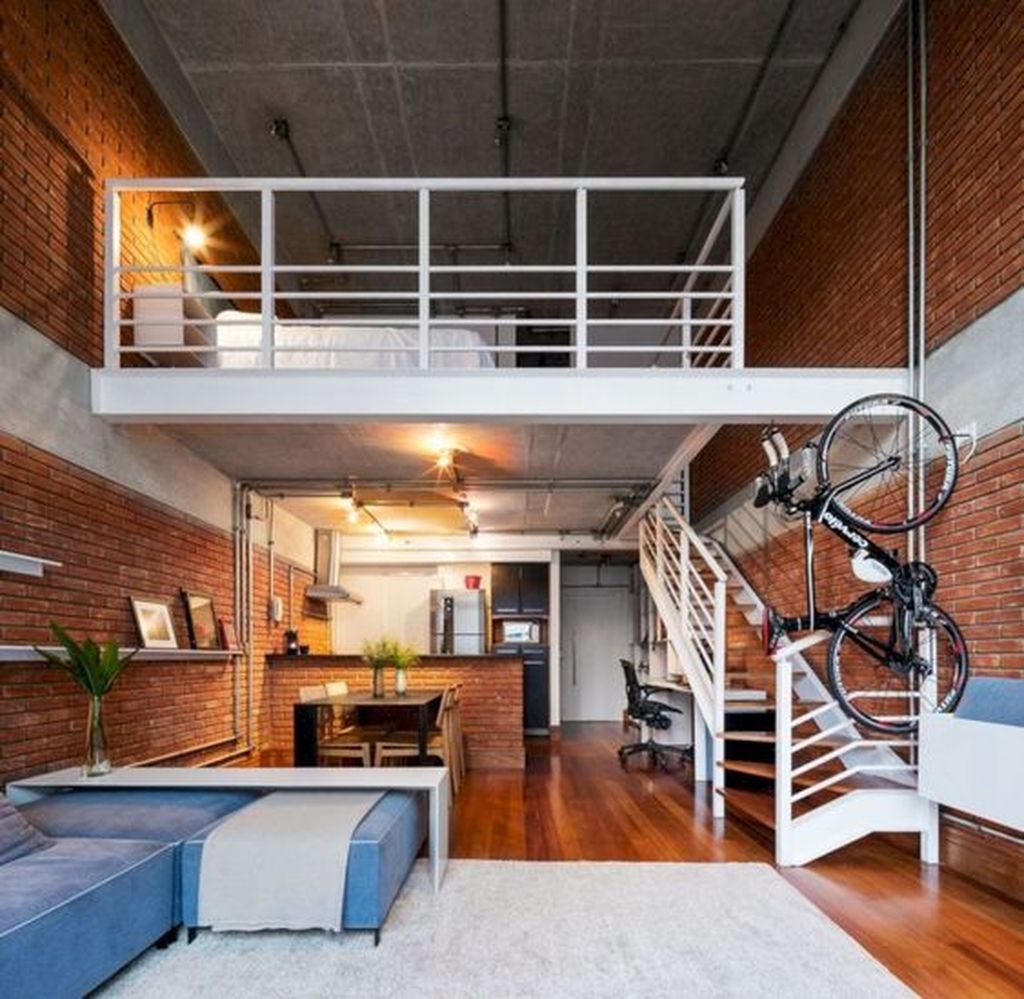 Interior design for modern loft with wooden floor and brick wall