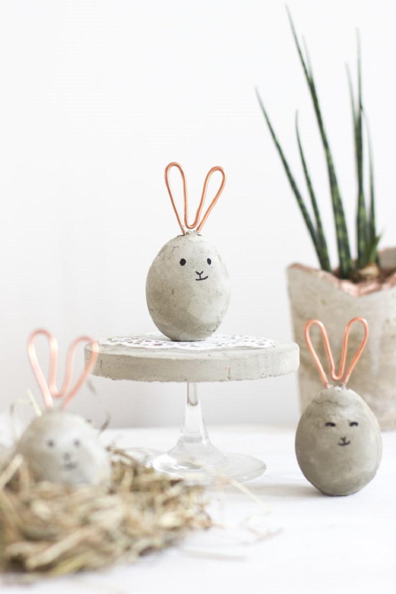 Concrete egg-bunny shape