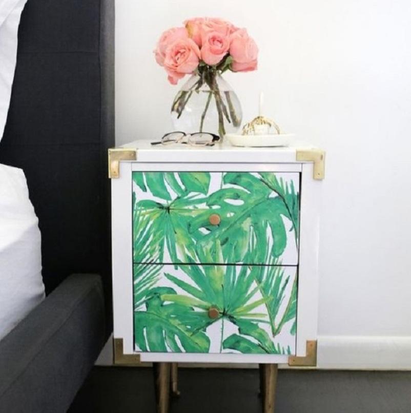 DIY Tropical Leaf Wallpaper Nightstand