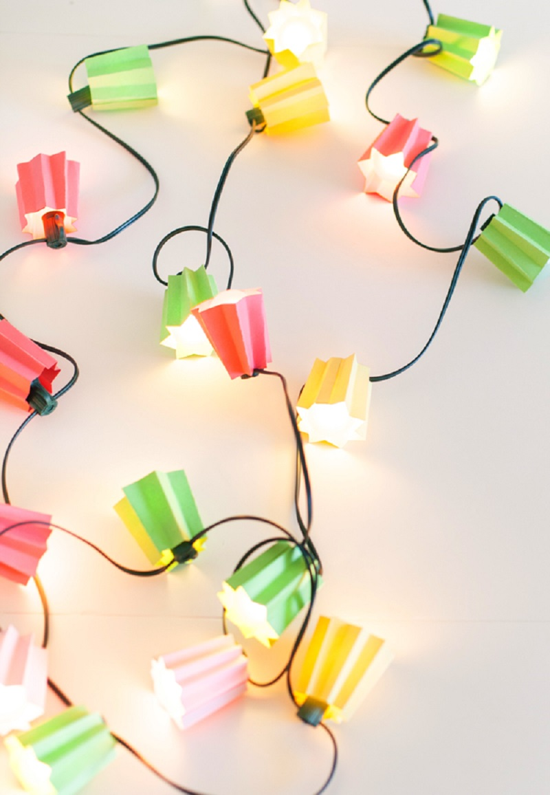 DIY Colorful Paper Folded Light Strands