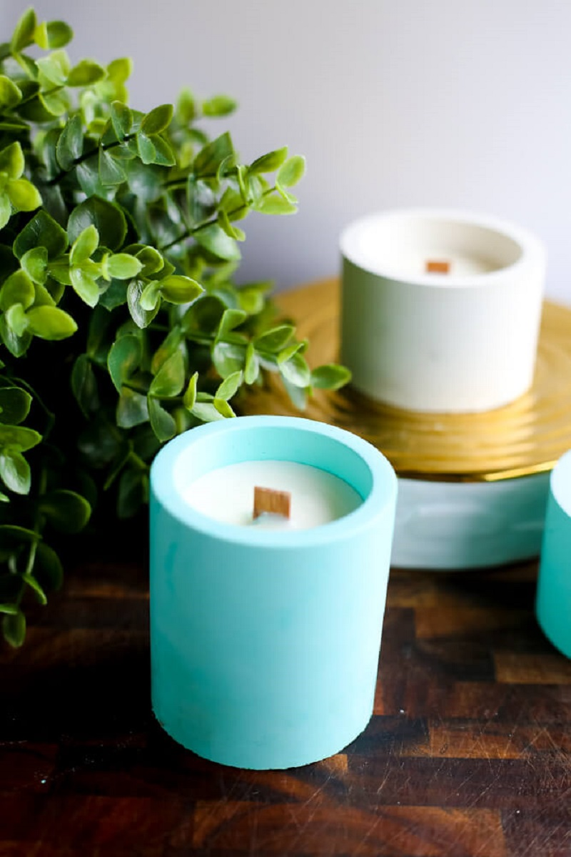 DIY colorful concrete candles