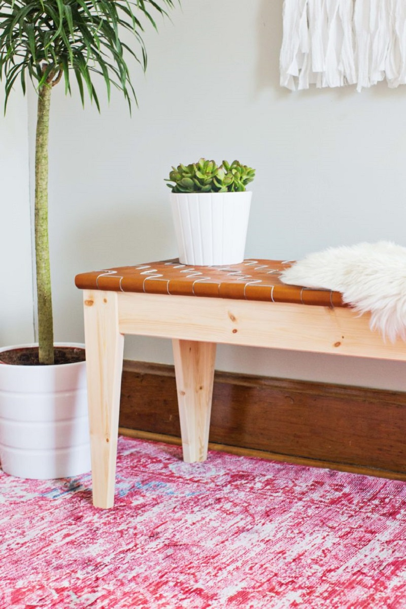 Rich-Colored Leather Bench