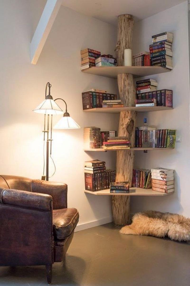 tree trunk corner shelves