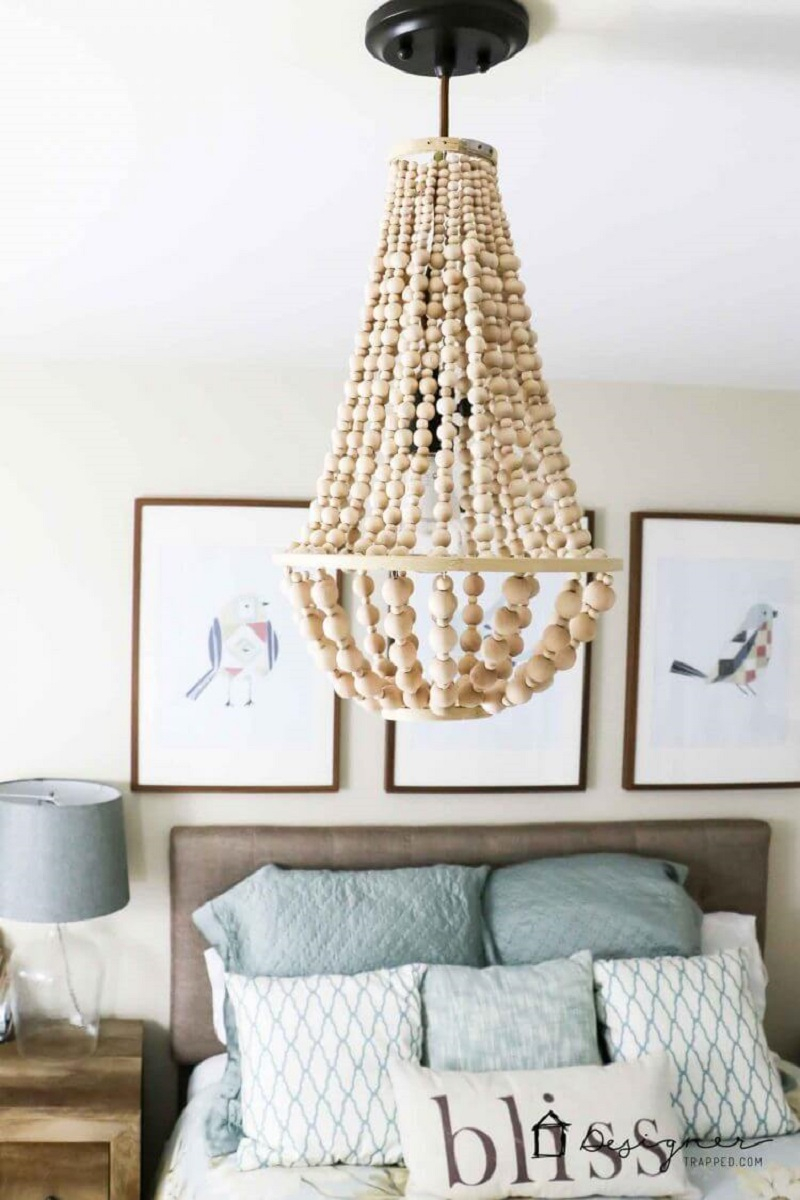 Elegant chandelier with beads Extra Appealing DIY Lampshades To Brighten Up Your Room Every Day