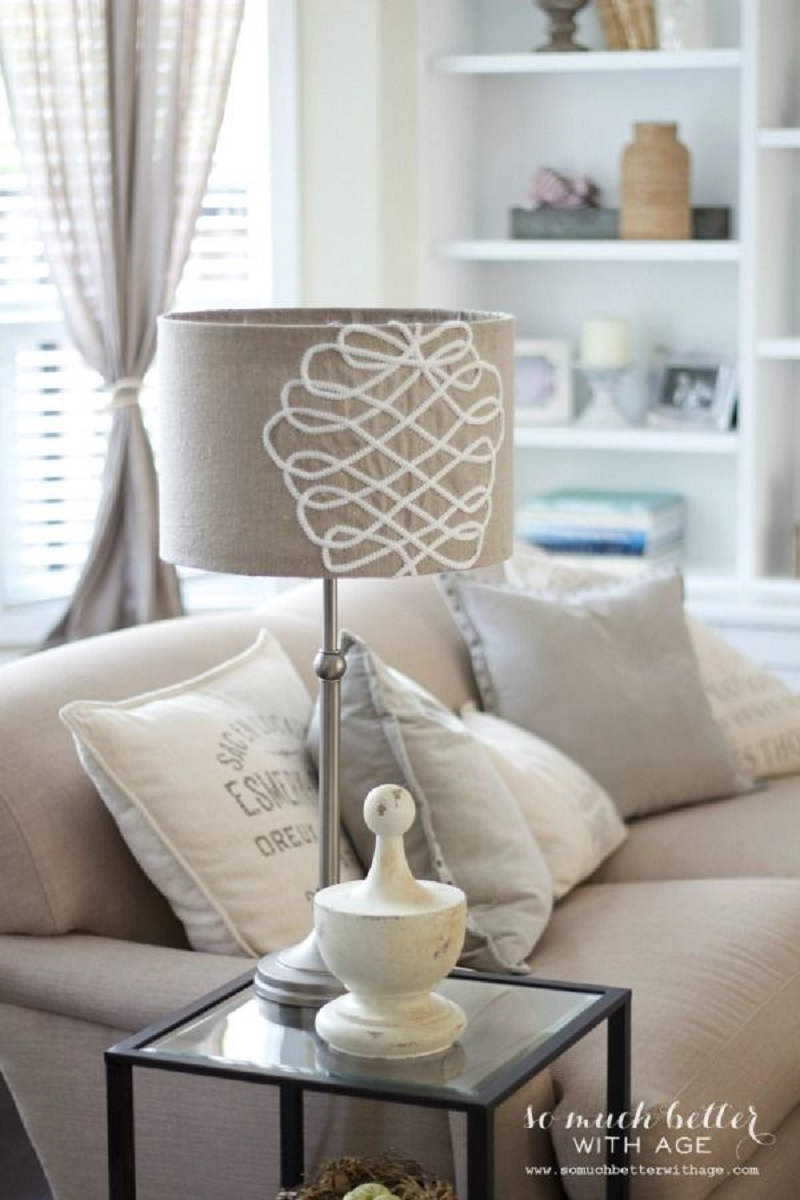 Fake embroidered lampshade Extra Appealing DIY Lampshades To Brighten Up Your Room Every Day