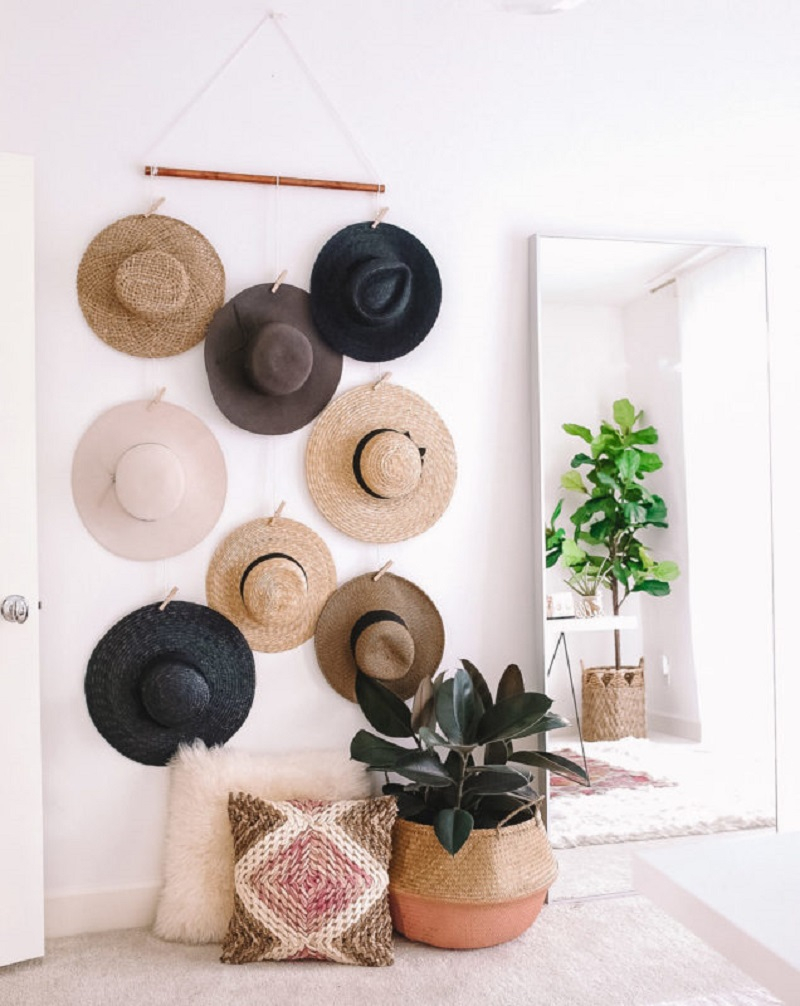 Hanging hat organizer DIY Hat Rack Ideas For Hat Collection To Keep Your Space Save