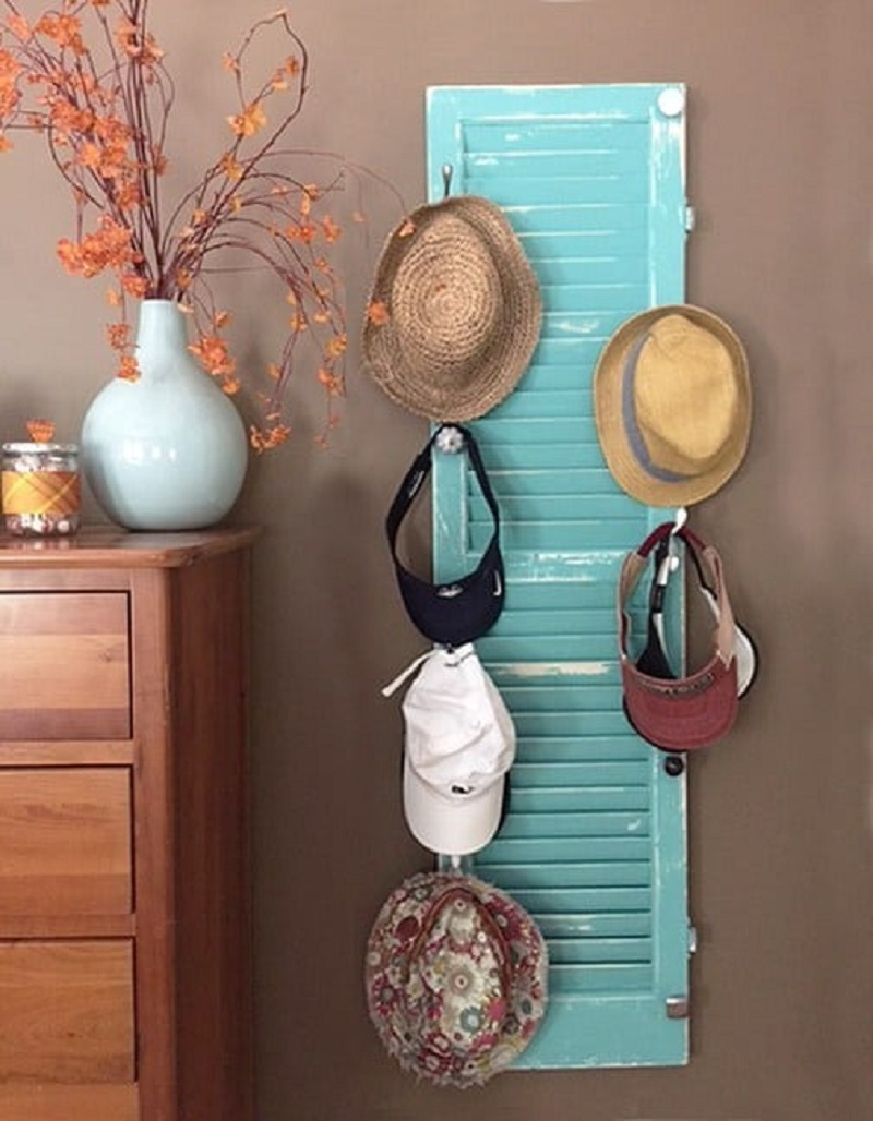 Refurbished shutter DIY Hat Rack Ideas For Hat Collection To Keep Your Space Save