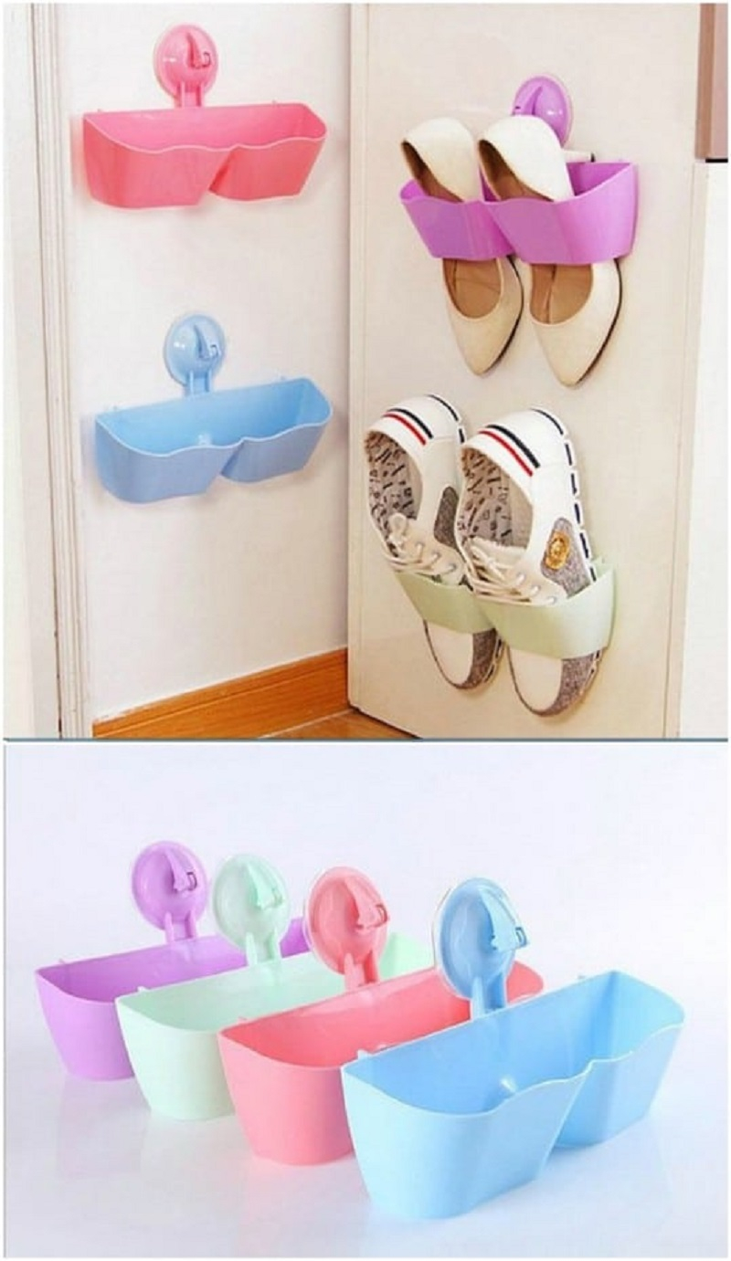 Repurposed plastic suctioned shoe holders DIY Shoe Rack Ideas That Perfect For Your Family To Have Easy Shoes Hunting