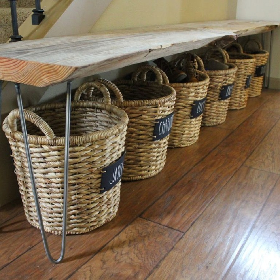 Shoe storage baskets and bench DIY Shoe Rack Ideas That Perfect For Your Family To Have Easy Shoes Hunting