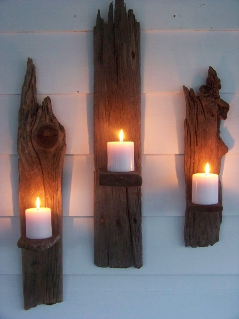 Vintage driftwood wall candle