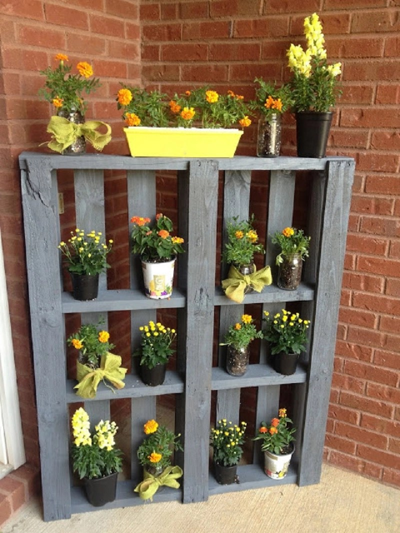 Wooden pallet plant stand