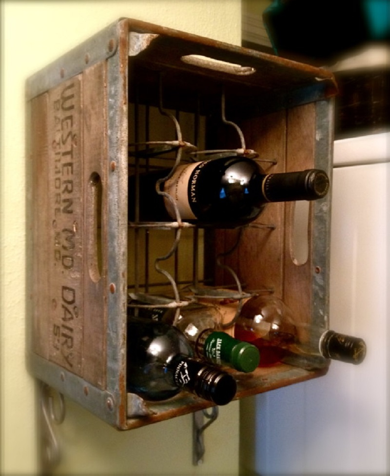 Vintage milk crate wine rack