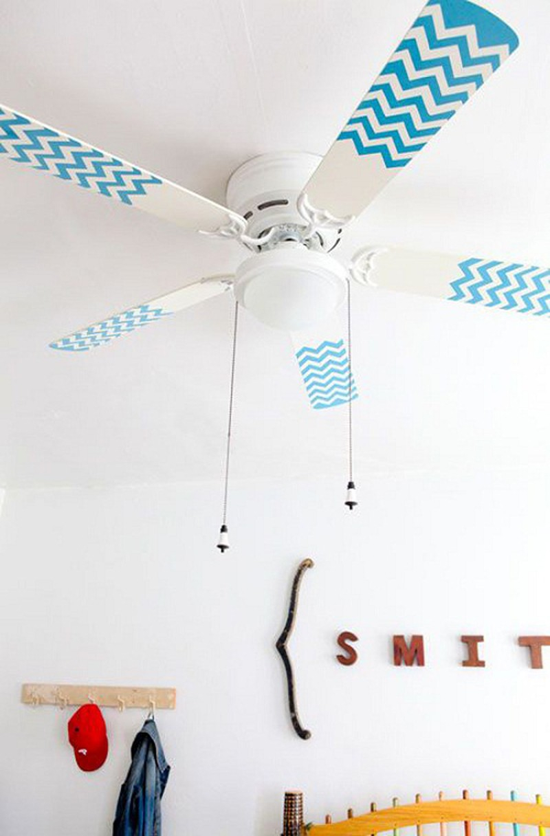 A gorgeous ceiling fan with washi tape Spectacular DIY Ideas To Create Foremost Dorm Room Décor
