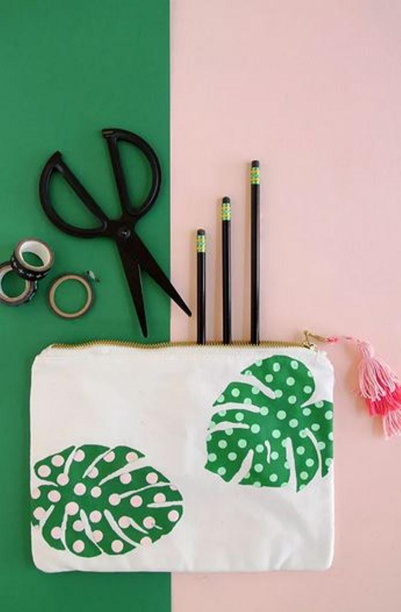 Diy pencil case with palm leaf