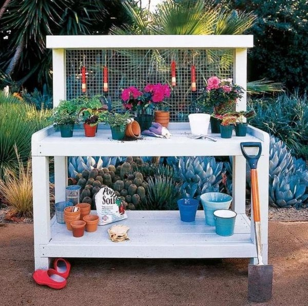 Diy potting bench ideas that give you extra room to pot plants and flowers