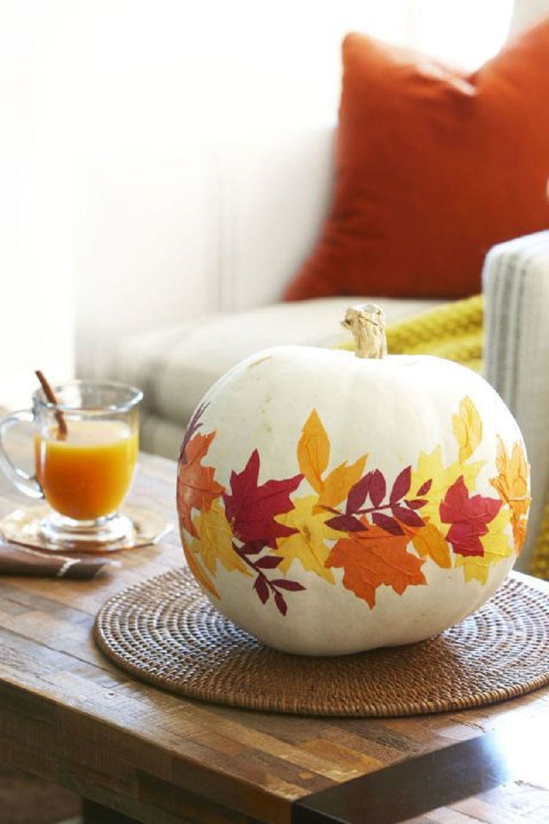 Fall foliage pumpkin Festive DIY No-Carve Pumpkins Ideas That Are Easy To Copy For This Halloween