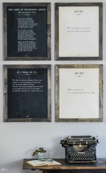 Framed book pages