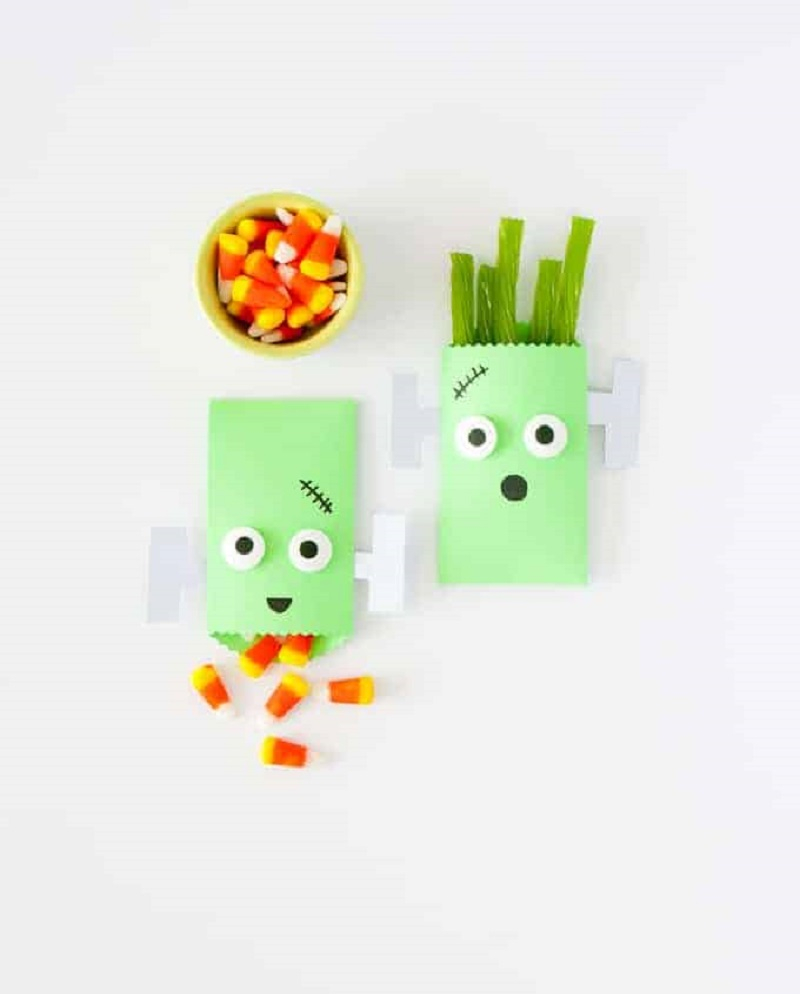 Frankenstein halloween treat bag Striking DIY Halloween Trick-Or-Treat Bags As Your Crafting With Kids Projects