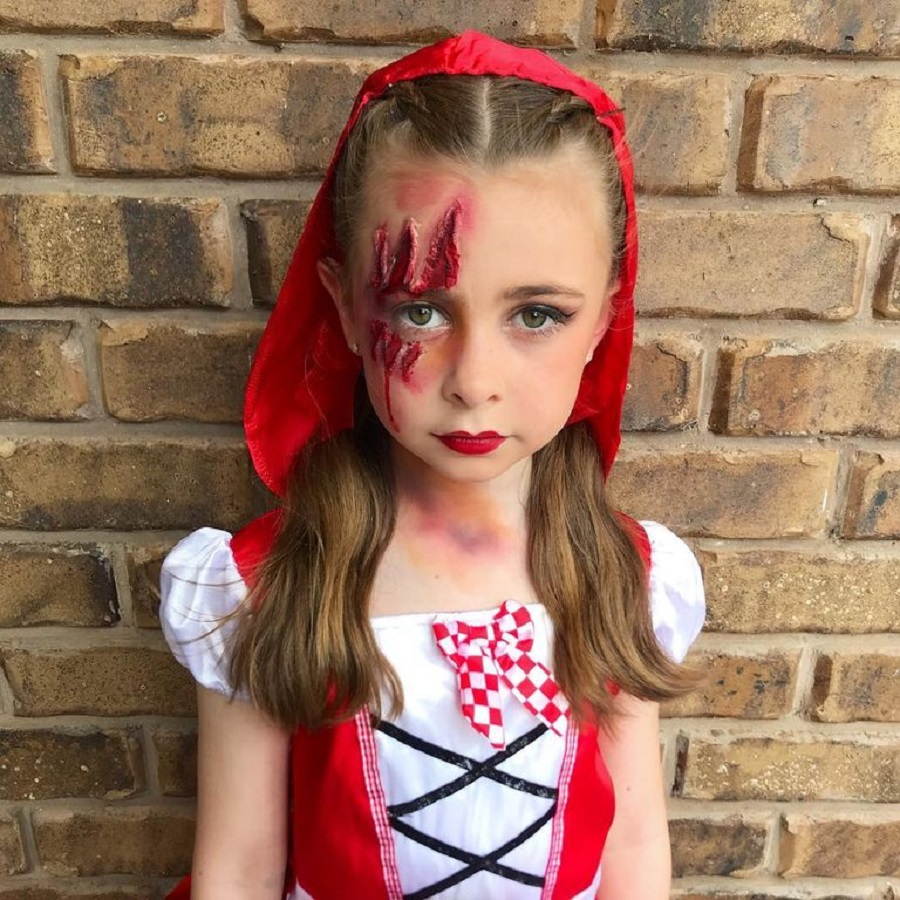 Little red riding hood face paint Incredible Halloween Face Paint Ideas For Kids That Unartistic Parents Can Attempt
