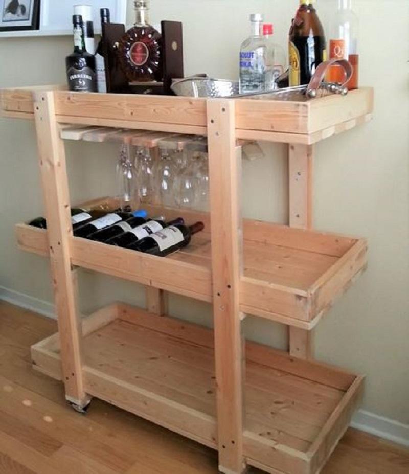 Rolling wooden bar cart