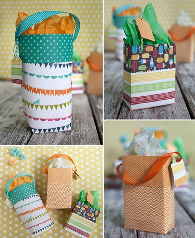 Scrapbook paper gift bag Superlative DIY Gift Bag Ideas You Can Create For Every Occasion