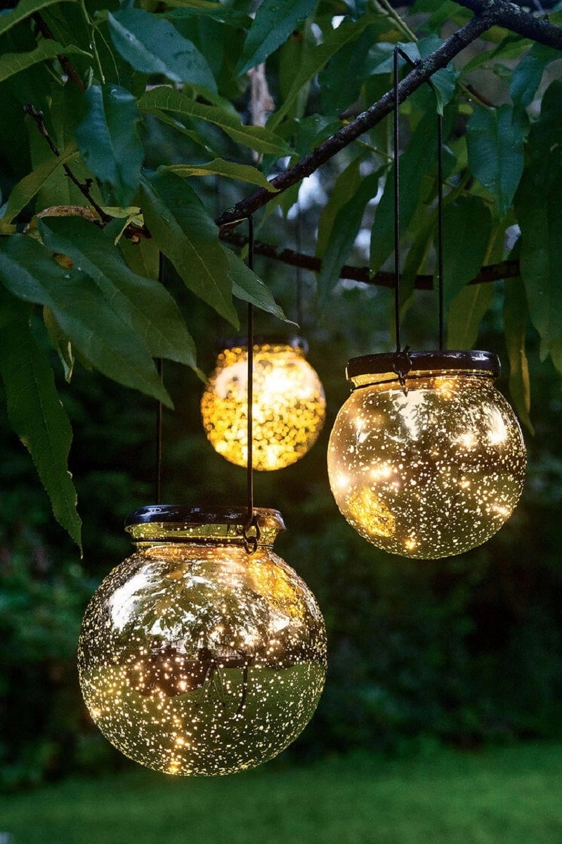 Solar fairy dust tree globes DIY Magical Hanging Decoration Ideas To Bring Your Outdoor Alive