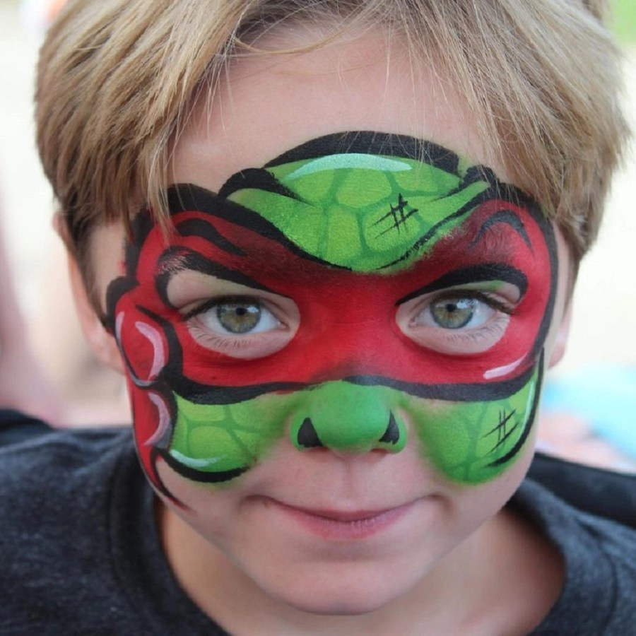 Teenage mutant ninja turtle face paint Incredible Halloween Face Paint Ideas For Kids That Unartistic Parents Can Attempt