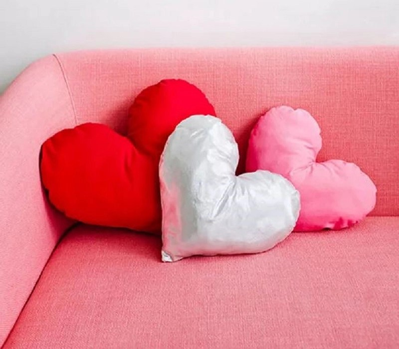 Throw pillow in heart shape